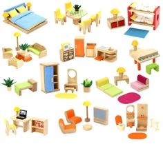 Groovy Wooden Doll House Furniture Set