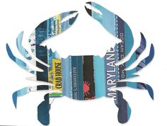 Maryland Blue Crab Recycled Magazine Art by FloraAmour on Etsy, $45.00