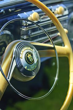 1942 Lincoln Continental Cabriolet Steering Wheel Emblem - Jill Reger - Photographic prints for sale