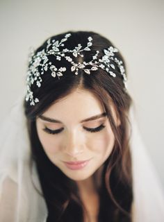 Silver Wedding Tiara Bridal Crystal Crown Crystal Woodland