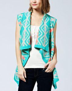 Ivory Mint Coral Aztec Tribal Open Front Draped Flowy Cardigan Knit Loose Vest #ClothingBucket #Cardigan