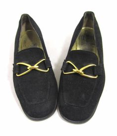 Vintage Bruno Magli Black Loafers Flats Gold Chainlink Triangles 8 C Wide RARE | eBay