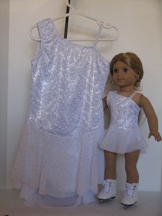 Matching White Silver Ice Skating Dresses for A Girl Her American Girl Doll | eBay