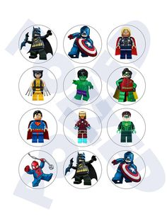 Superhero Lego Cupcake Toppers by Poized on Etsy, $3.00
