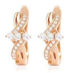 Earrings With Cubic zirconia Made in 14K/925 Gold plated Silver Length 14mm Unknown. $82.00