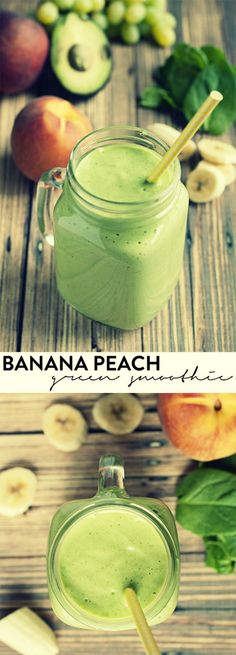 Banana Peach Green Smoothie | Smoothies are so amazing because of all the possible food combinations that create something delicious, and this banana peach green smoothie is a winner! via: @asimplepantry