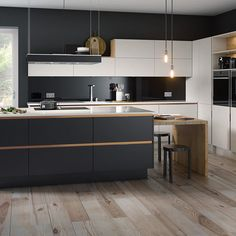 Dark Blue and Copper Kitchen Best Picture For kitchen island colors For Your Taste You are looking f Copper And Grey Kitchen, Dark Blue Kitchen Cabinets, Dark Blue Kitchens, Kitchen Island With Cooktop, Blue Kitchen Island, Navy Kitchen, Copper Kitchen Decor, Long Kitchen, Blue And Copper
