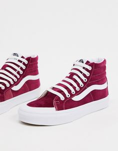 Baskets femme Vans SK8-Hi Rouge betterave Foot Locker, Asos, Vans Sneakers, High Top Sneakers, Basket Rouge, Reebok, Vans Sk8 Hi Reissue, Baskets, Buy Vans