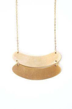 Minimalist Geometric Brass Curve Necklace Gold by ShopRareBird
