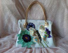 Poseta din piele,Mariposa  -REZERVATA pentru A Handmade Bags, Diva, Valentino, Bloom, Christmas Ornaments, Holiday Decor, Unique, Painting, Handmade Handbags