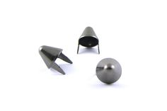 Black Standard English 77 Cone Studs Sold in packs of 100 Slightly more narrow and 'conical' than the standard American Cones. Sturdy, High Quality, from the best manufacturer in the country! Leather Diy Crafts, Leather Craft, Studs And Spikes, Shop Around, Black Metal, Two By Two, Stud Earrings, Bag, English