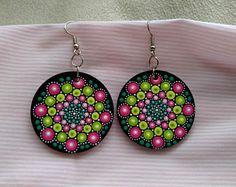 Hand painted dangle mandala earrings