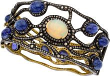 Opal, Tanzanite, Diamond, and Gold Cuff Bangle.