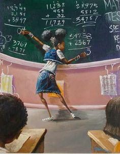 """A Student"" Frank Morrison Art Art Black Love, Black Girl Art, My Black Is Beautiful, Art Girl, Simply Beautiful, Black Girls, Frank Morrison Art, Black Art Pictures, Natural Hair Art"
