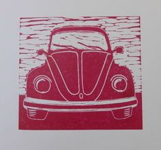 VW Beetle original lino print card - red by Debi Holland