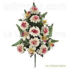 Ramos artificiales cementerios y jardineras Todos los Santos. Ramo flores artificiales dalias con orquideas bicolor 55