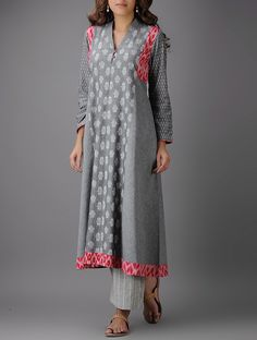 Buy Grey Red Ivory Ikat Cotton Kurta Women Kurtas Online at Jaypore.com