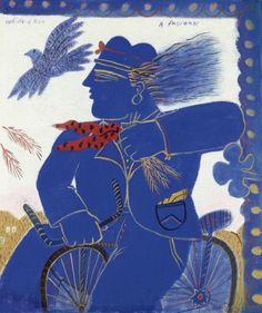Blue Cyclist - Alekos Fassianos (Greek) Greek Art, Perfectly Imperfect, Matisse, Deco, Artist Art, Modern Art, Fine Art Prints, Artsy, Paintings