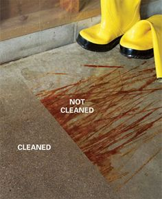 Directions for how to get stains out of concrete.