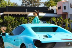 Kylie Jenner and her baby blue Ferrari
