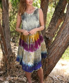 Another great find on #zulily! Beige & Purple Tie-Dye Shift Dress by Ananda's Collection #zulilyfinds