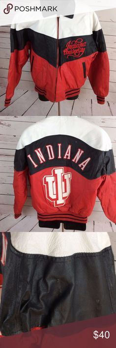 Indiana University Leather Jacket Coat IU College Phase Genuine Leather Indiana University Coat Size Large IU Hoosiers.  Excellent condition genuine leather jacket. Liner is 50% Acetate 50% Nylon with 100% Polyester padding, very warm. See photos for details. College Phase Jackets & Coats Bomber & Varsity