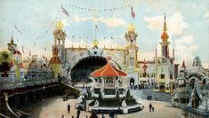 The Dragon's Gorge, Luna Park, Coney Island, New York Coney Island Amusement Park, Amusement Parks, Sunken City, Carnival Rides, Paris Skyline, Taj Mahal, Brooklyn, The Incredibles, Painting