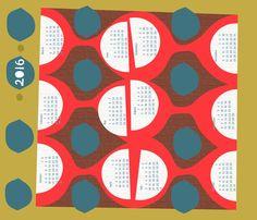 2016 retro tea towel calendar-21 inch fabric by ottomanbrim on Spoonflower - custom fabric
