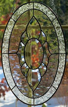 Clear Glass Bevel Cluster Oval Shape Stained by StayCsStainedGlass