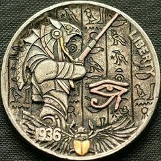 "Hobo Nickel ""Horus"". Hand engraved by Narimantas Palsis (Nari) Hobo Nickel, Hand Engraving, Coins, Personalized Items, Rooms"