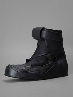 Julius high top trainers with buckled ankle and elastic detail, internal heel and back zip closure #julius