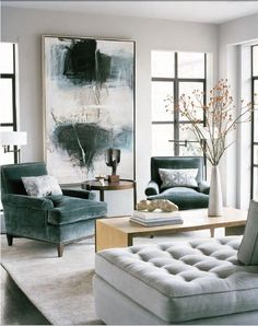 i would like everything in this photo, please: giant painting, velvet laid-back arm chairs, 3-sided coffee table, grey tufted chaise. home-decor