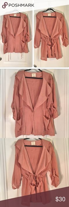 """Urban Outfitters Pins & Needles Jacket Urban Outfitters Pins & Needles Dusty Rose Trench Coat Jacket With Hoodie ~ Pale Pink Color ~ Lightweight Baggy Fit With A Cinched Waist ~ Pockets ~ Size Small ~ UA to UA is approximately 28"""" (measured when it was not cinched) Length is approximately 30"""" ~ 71% Viscose & 29% Cotton ~ Dry Clean Only ~ So pretty! Urban Outfitters Pins and Needles  Jackets & Coats"""