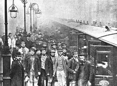 Liverpool Street Station, Bishopsgate, London. Working men traveling by the 12:55 p.m. train to Enfield Town. 25 October 1884.