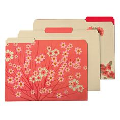 Keep your home office area or desk organized and beautiful!  The Container Store > Blossom Letter-Size Interior File Folders come in other great colors and patterns to complement your decor and personality.  Not a waste of money when you use Erasable File Folder Labels!