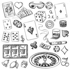 Hand drawn casino collection illustration with roulette, cards, cigar, whisky, casino chip Doodle Tattoo, Doodle Art, Tattoo Drawings, Casino Tattoo, Vegas Tattoo, Money Tattoo, Tattoo Flash Art, Art Plastique, Tattoo Designs