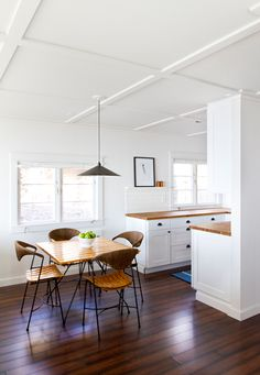 Modern dining area with pendant light and sculptural chairs. Love the ceiling detail! Home Renovation, Cabin Kitchens, Dining Area, Kitchen Dining, Open Kitchen, Timber Kitchen, Square Kitchen, Dining Chairs, Happy Kitchen