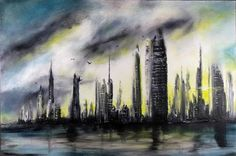 """""""Steel City"""" abstract painting by Randall Marmet. As the new day begs the night for mercy, weather forebodes the daybreak.  Even the birds have given wing to escape the disturbance.  24""""x 36"""" x 1 3/8"""" deep hand stretched gallery quality canvas.  Original fine art painting, hand painted and clear coated with archival artists varnish for protection against dust and abrasion.  $330.00 To acquire this painting: http:// marmetfineart.com/products/steel-city-abstract-art★❤★"""