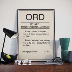 Monopoly inspired Chicago Airport Poster, O'Hare Airport Print, ORD, Wall Decoration, Office Decor, Cafe Decor, Illinois Print