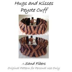 Peyote Pattern Hugs and Kisses Cuff / Bracelet A by SandFibers