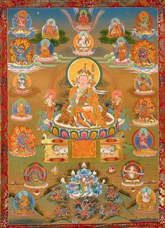 Guru Rinpoche and 12 manifestations according to Barchey Kunsel
