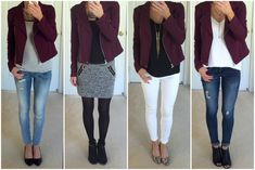 Outfit Planning: Burgundy Jacket 4 Ways   On the Daily EXPRESS