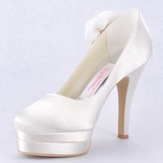 "Dyeable Graceful 4.5"" Hand Made Flower Almond Toe Pumps - Ivory Satin Wedding Shoes (11 colors)  Double Platform, Slip-on, Pumps, Block Heel, Ivory, White, Hand Made Flowers, Almond Toe, Wedding, Satin Upper, Leatherette, Anti-skid Rubber Sole,   US$77.98"