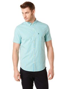SHORT SLEEVE THREE COLOR GINGHAM SHIRT, Andean Toucan, hi-res