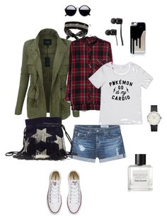 """""""Day off"""" by ulusia-1 ❤ liked on Polyvore featuring LE3NO, Bershka, AG Adriano Goldschmied, Converse, Yves Saint Laurent, Vans, Fallon and Tom Daxon"""