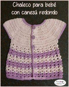 Chaleco o bolero a crochet o ganchillo bebé canesú redondo1. Paso a paso con fotografías y explicaciones en español
