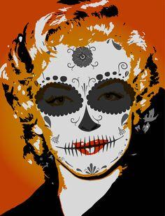 sugar skull photo manipulation to celebrateDίa de los Muertos