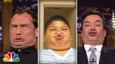 """Host Jimmy Fallon recently competed against his guest Jude Law in a """"Funny Face Off"""" challenge with kids on The Tonight Show. Jimmy asked kids to send in Funny Face Gif, Make Funny Faces, A Funny, Funny Kids, Hilarious, Funny Stuff, Stupid Funny, Jude Law, Jimmy Fallon"""
