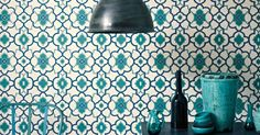 Alahambra Palace wallpaper in Summer Colourway, the perfect pattern to brighten up your home.