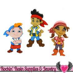DISNEY Jake and the Neverland Pirates, Cubby and Izzy Dress It Up Licensed Jesse James Buttons Or Turn them into Flatback Cabochons Pirate Dress, Disney Buttons, Girl Pirates, Kids Craft Supplies, Jesse James, Cubbies, Neverland, Embellishments, Whimsical